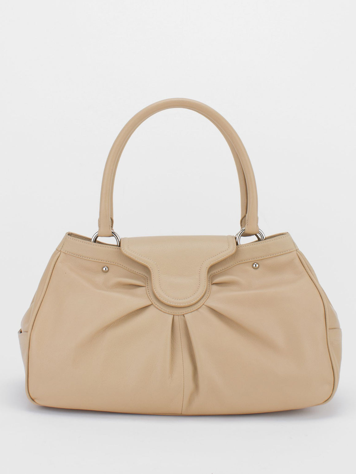 YVETTE Pleated Leather Tote - Beige