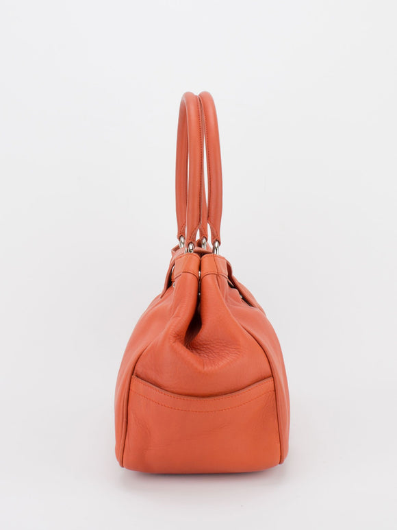 YVETTE Pleated Leather Tote - Orange
