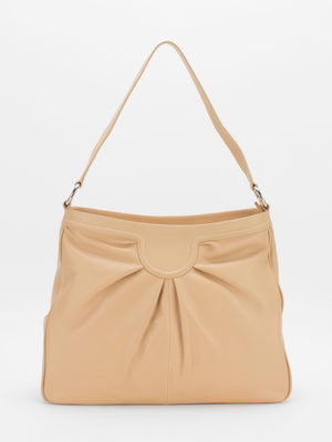 Angela Pleated Leather Shoulder Bag - Beige