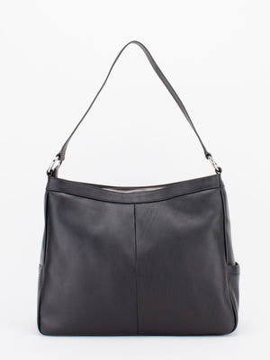 Angela Pleated Leather Shoulder Bag - Black