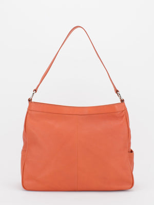 Angela Pleated Leather Shoulder Bag - Orange
