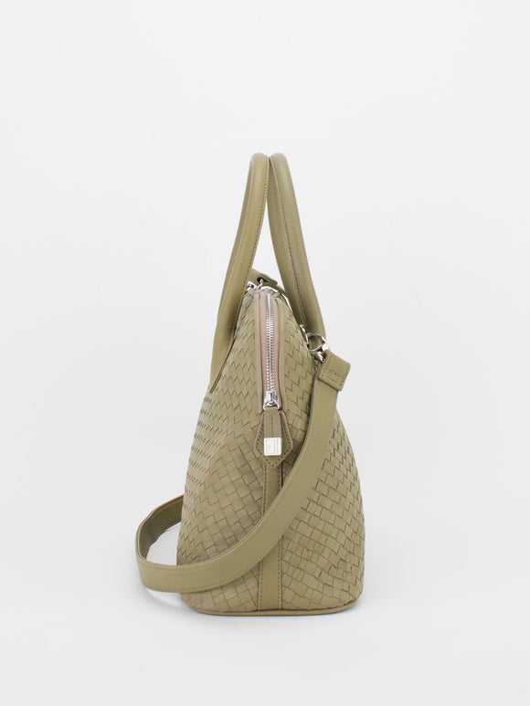 ELAINE Woven Leather Dome Satchel - Taupe