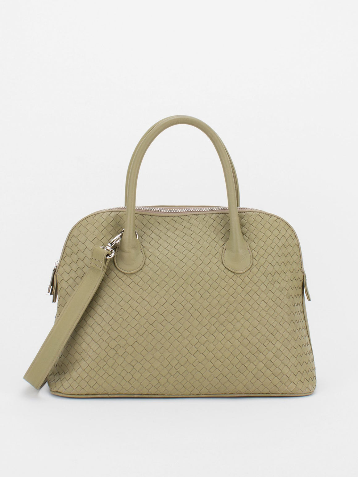 Elaine Woven Leather Dome Satchel – Taupe