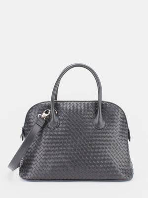 Elaine Woven Leather Dome Satchel – Black