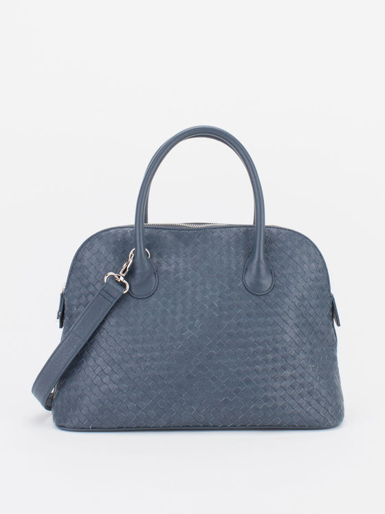 ELAINE Woven Leather Dome Satchel - Slate Blue