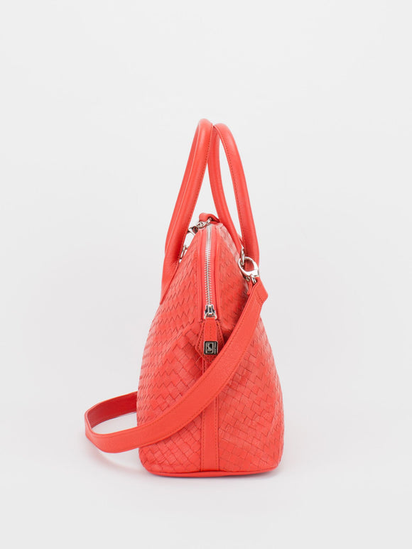 ELAINE Woven Leather Dome Satchel - Orange