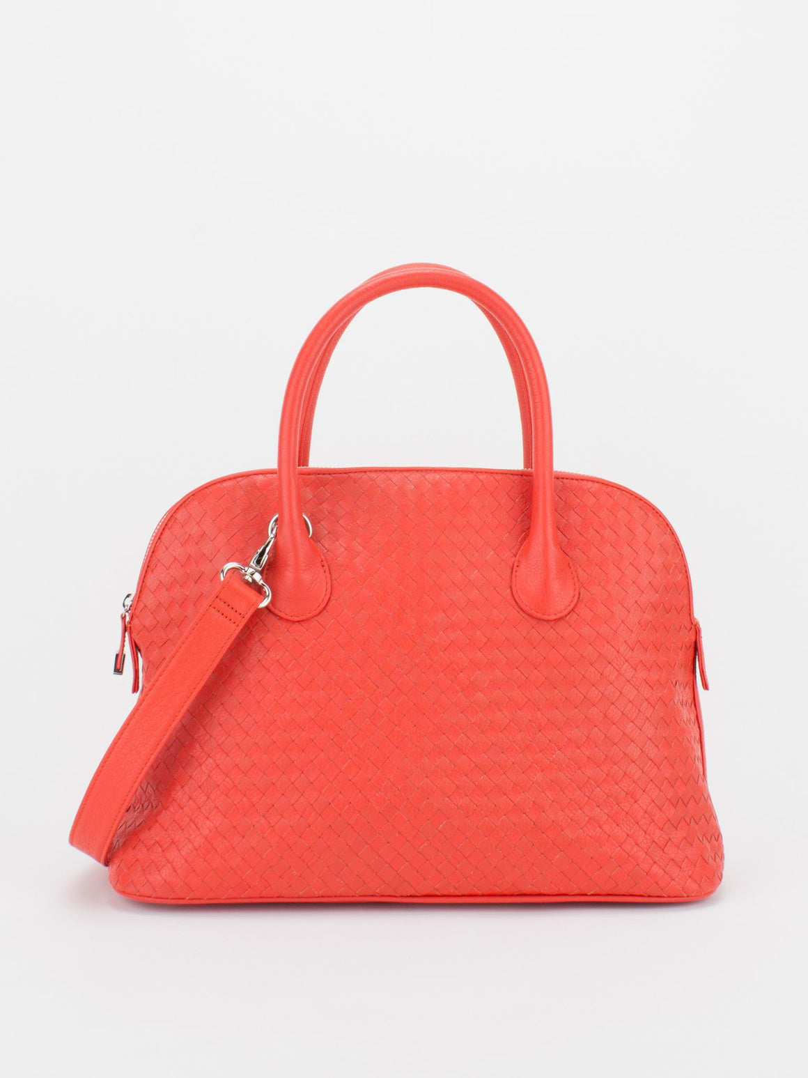 Elaine Woven Leather Dome Satchel – Orange