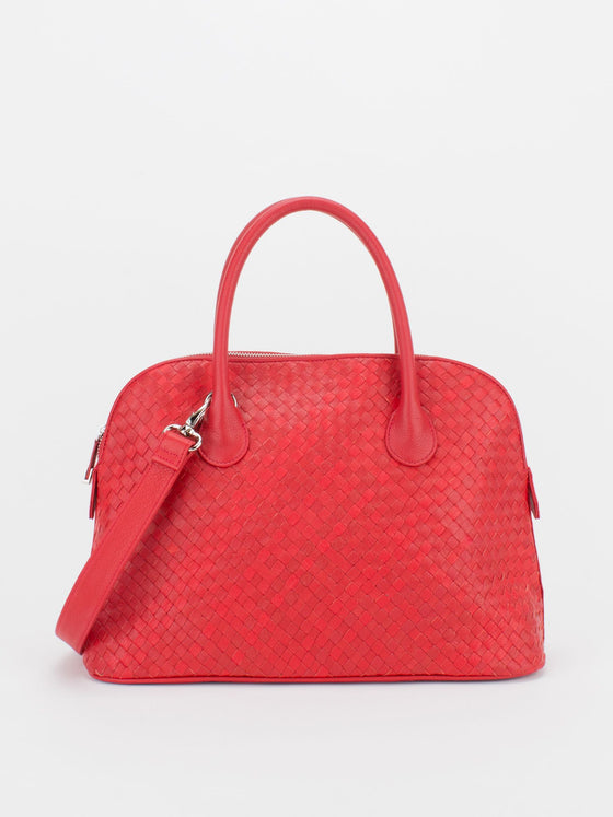 ELAINE Woven Leather Dome Satchel - Red