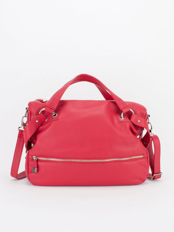 KASSIDY Pebble Leather Crossbody Tote - Red
