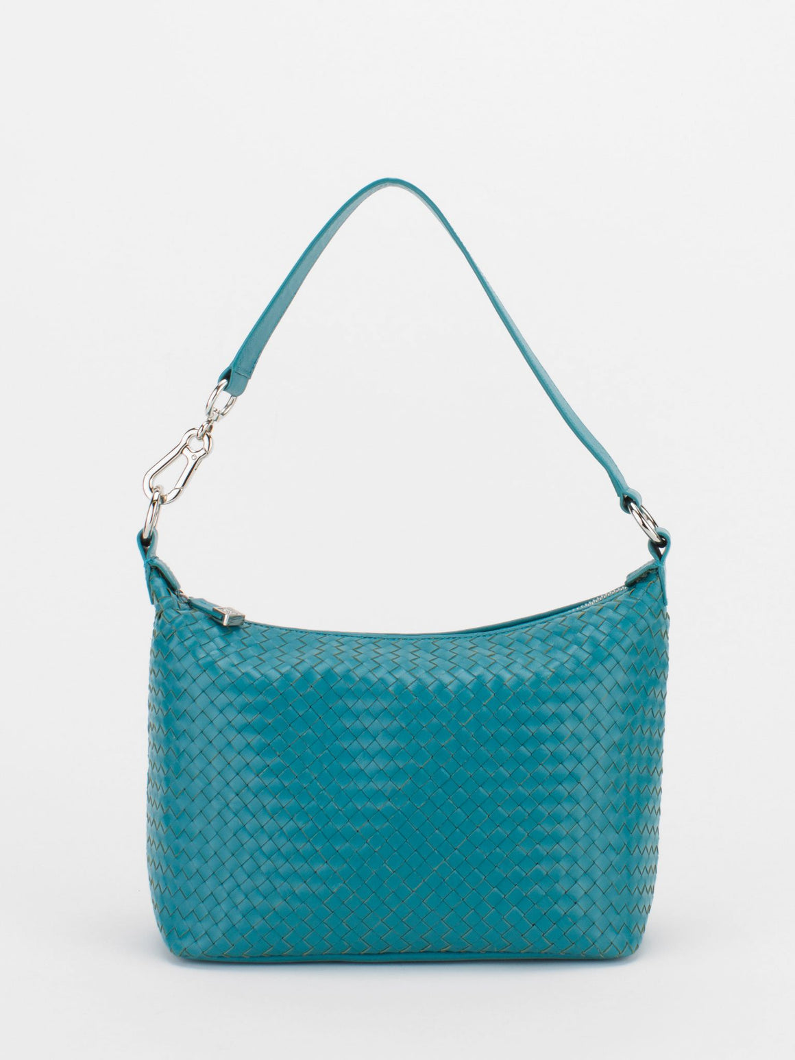 VENUS Woven Leather Hobo - Turquoise