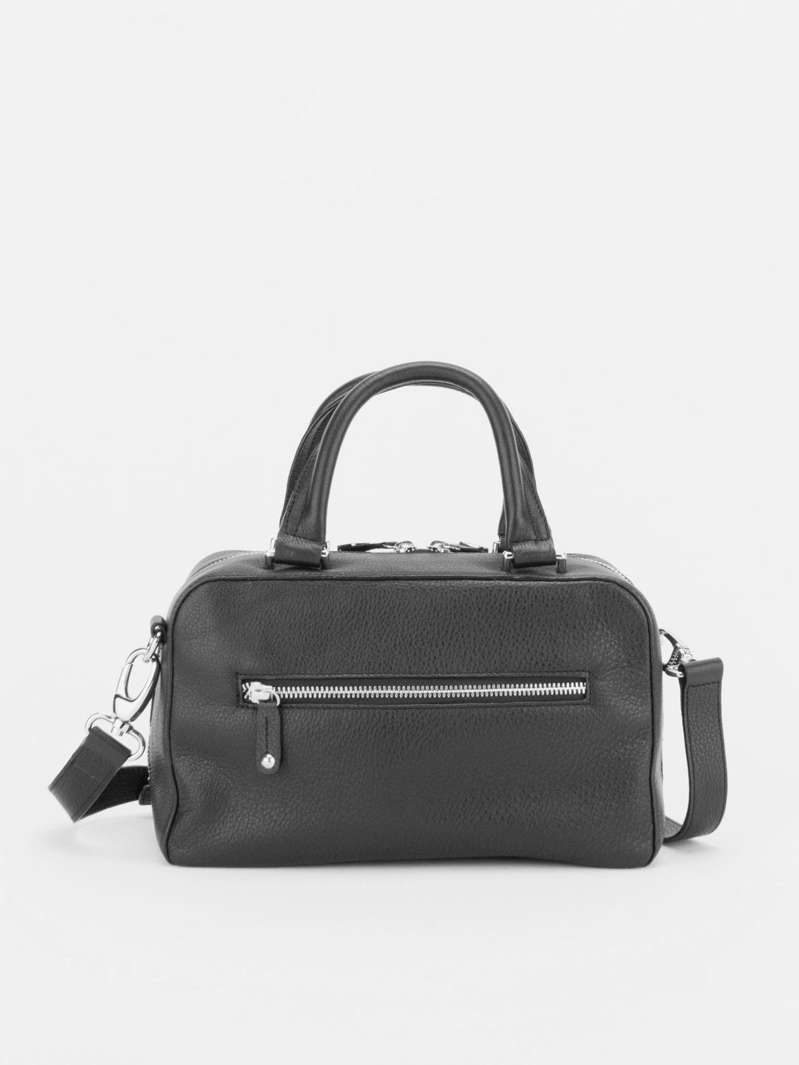 NATALIE Small Leather Boston Bag - Black