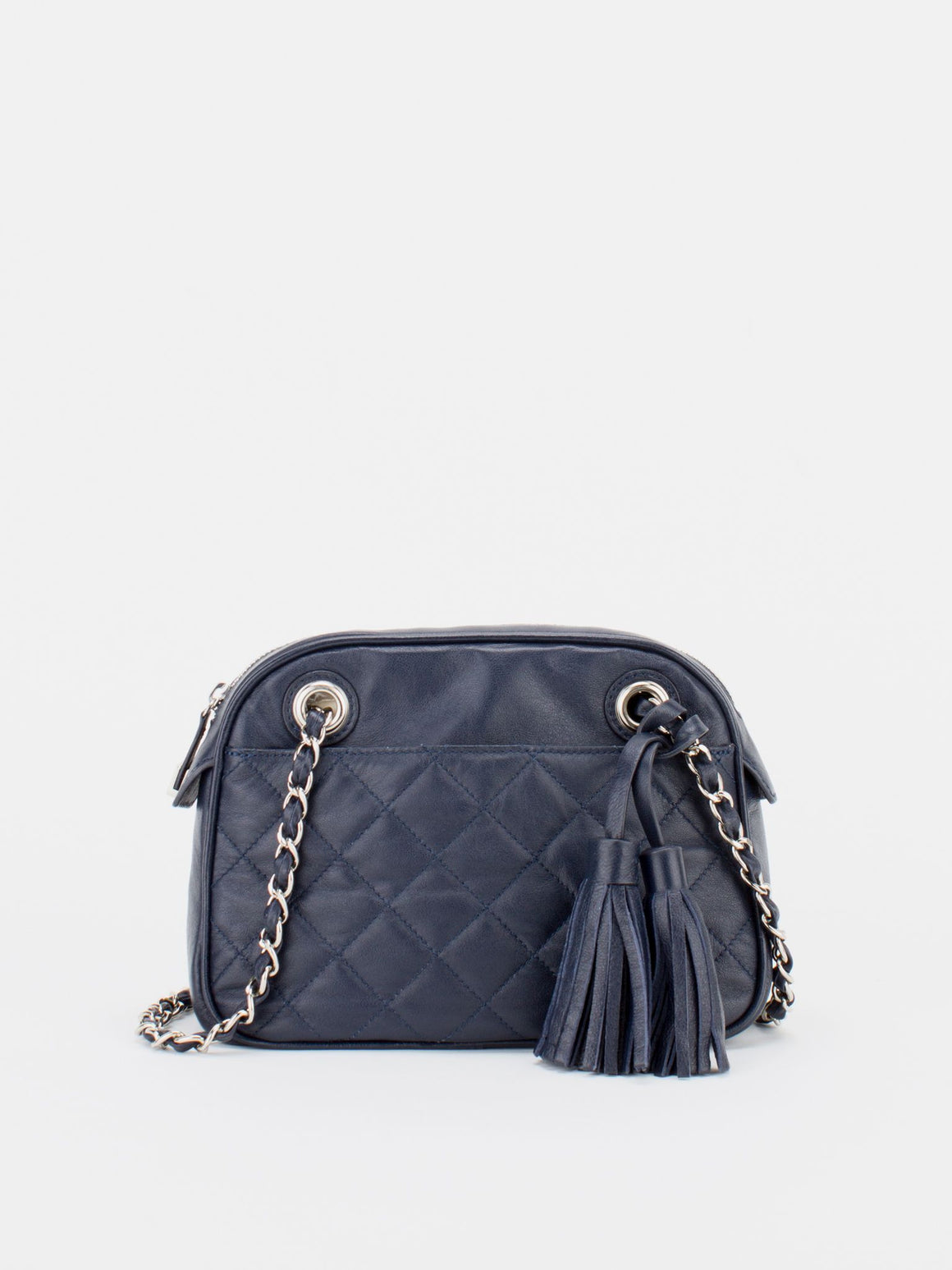 LAURIE Quilted Leather Chain Bag - Navy
