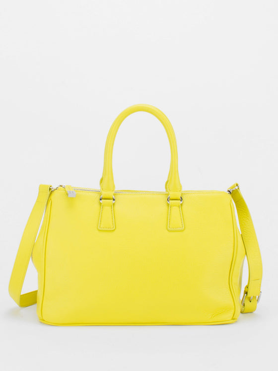 JOYCE Pebble Leather Satchel - Lemon