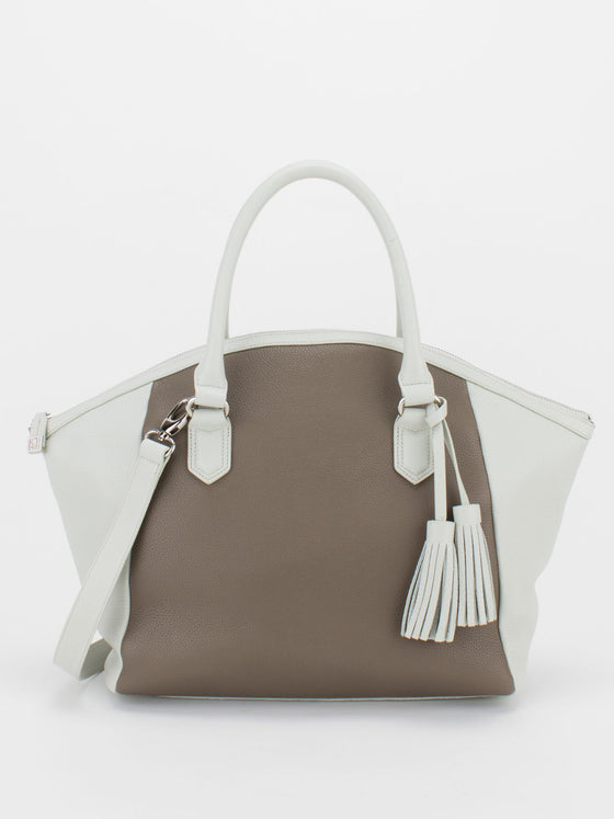 JULIE Two-Tone Pebble Leather Satchel - Taupe/White