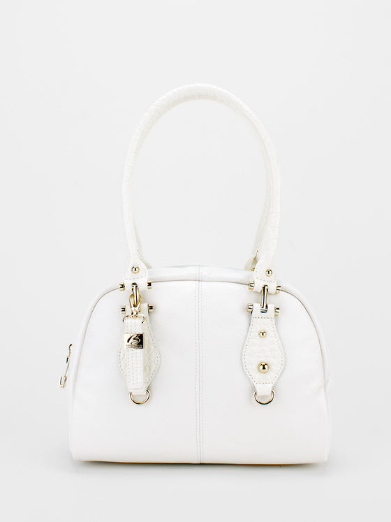 SIDNEY Leather Bowler Bag - White