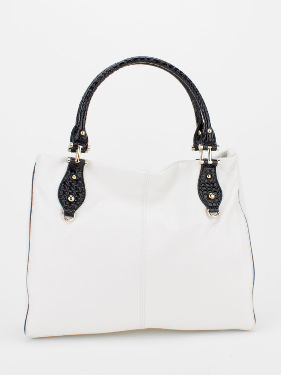 PETRA Leather Shoulder Tote - White/Black