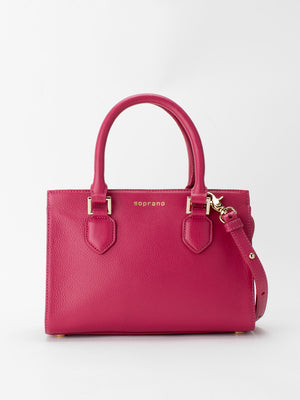 Yolanda Leather Satchel - Fuchsia