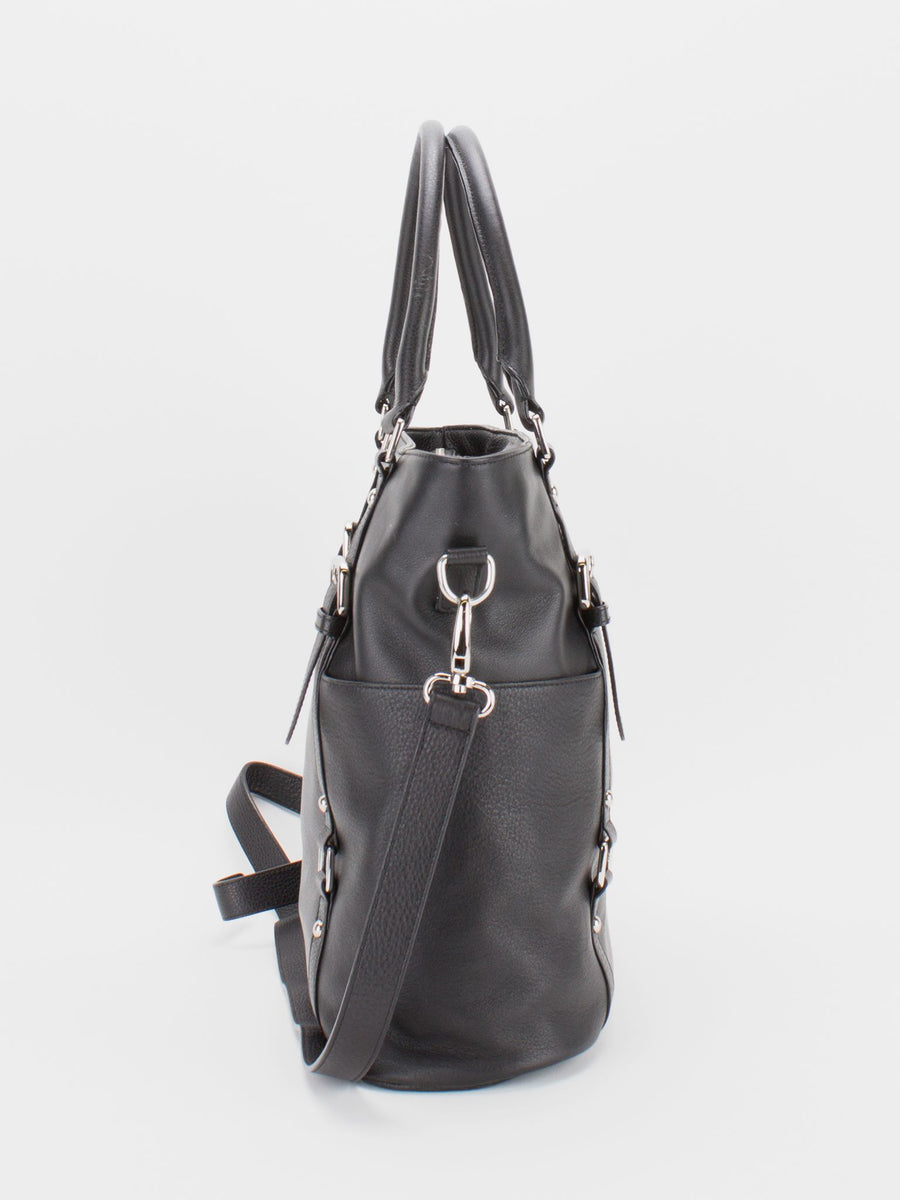 Aubrey Leather Large Tote - Black