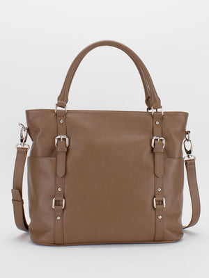 Aubrey Large Leather Tote - Cappucinno
