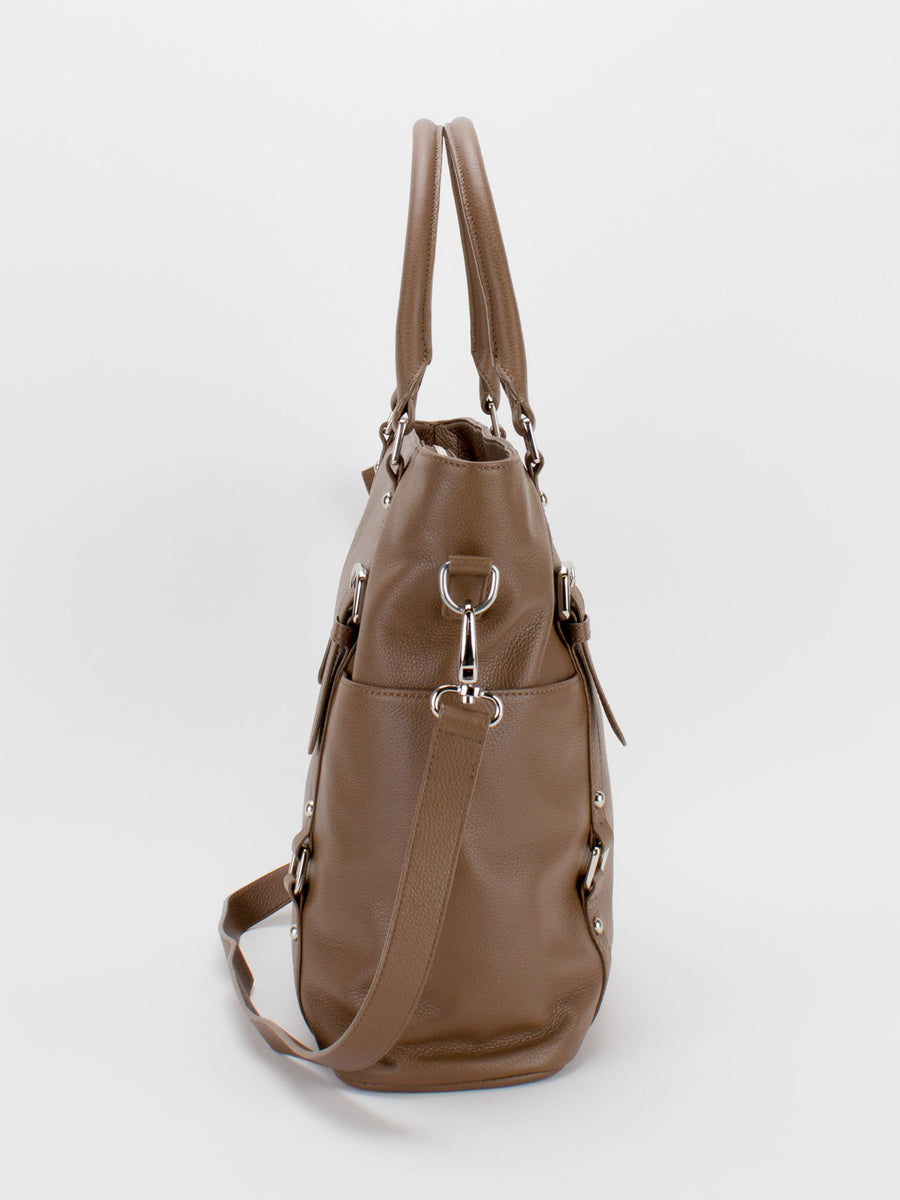 Aubrey Large Leather Tote - Latte