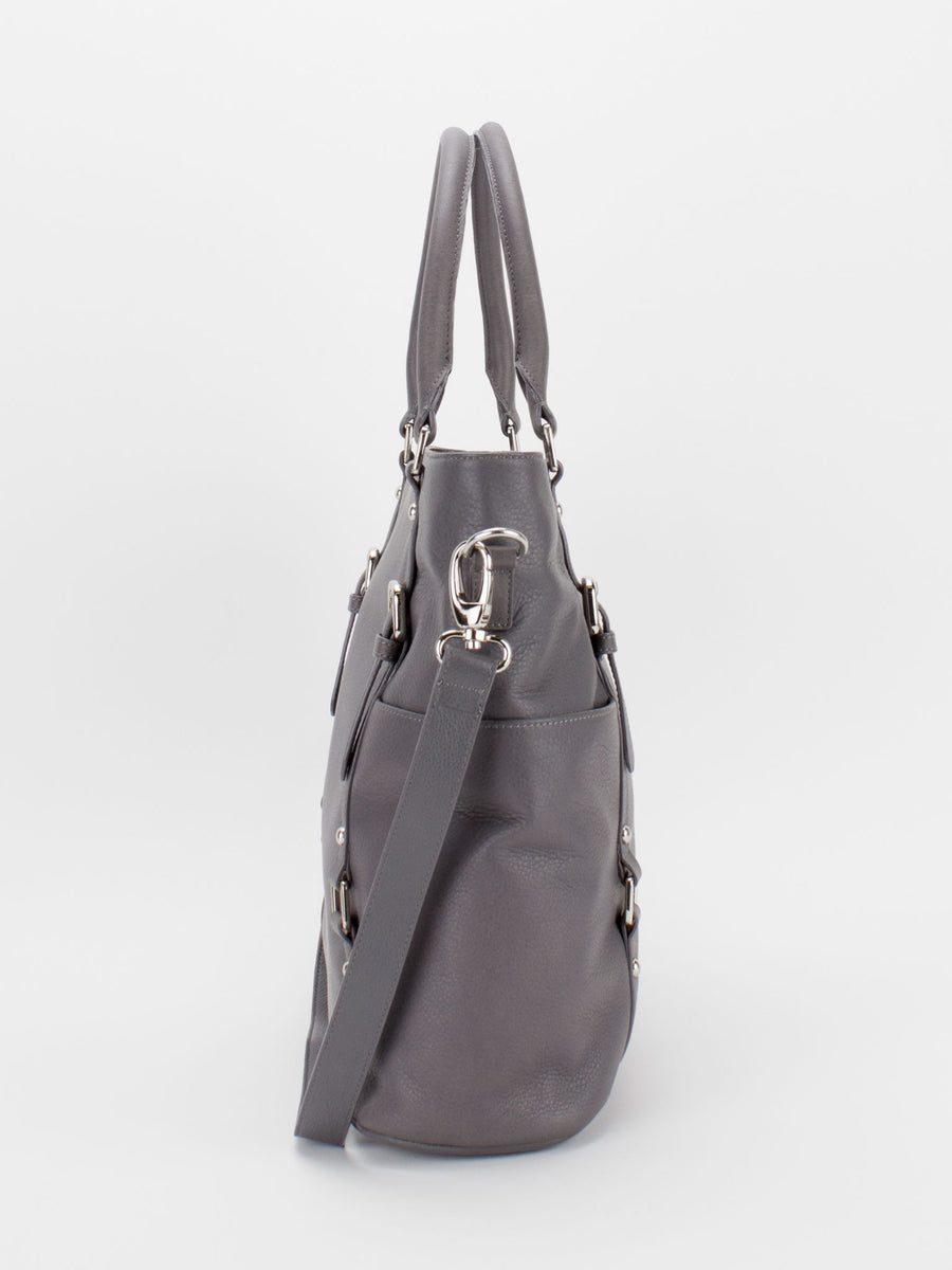 Aubrey Large Leather Tote - Grey