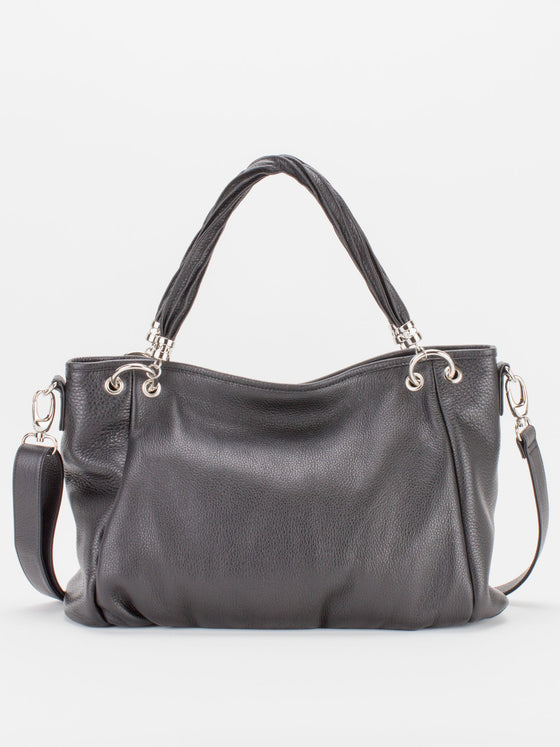 Emmy Leather Tote - Black