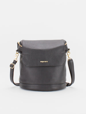 Jackie Leather Backpack/Shoulder Bag Convertible - Black