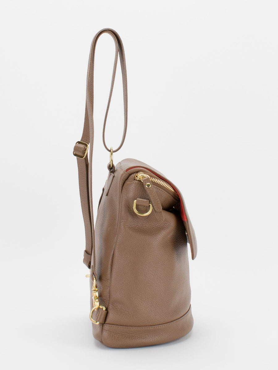 Jackie Leather Backpack/Shoulder Bag Convertible - Latte