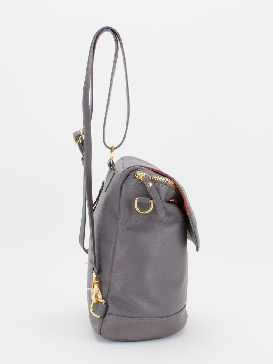 Jackie Leather Backpack/Shoulder Bag Convertible - Grey