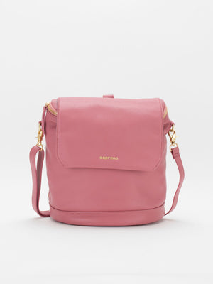 Jackie Leather Backpack/Shoulder Bag Convertible - Coral Pink