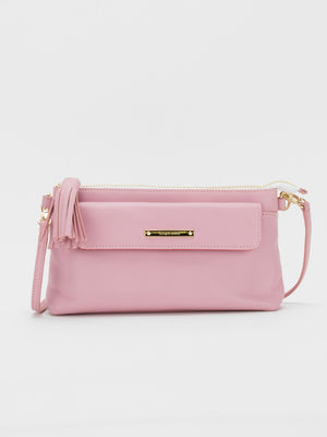 Alexis Leather Crossbody Bag - Pink
