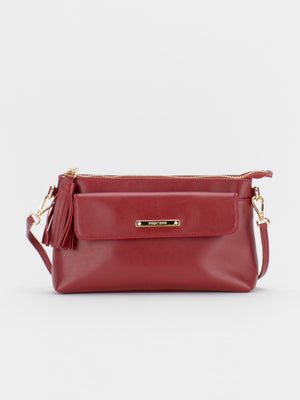 Alexis Leather Crossbody Bag - Crimson Red