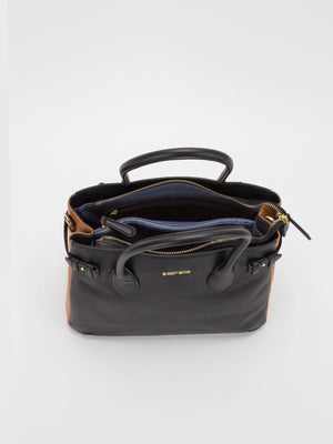 Madison Two-Tone Leather Satchel - Black/Caramel