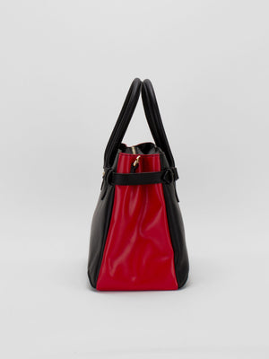 Madison Two-Tone Leather Satchel - Black/Red