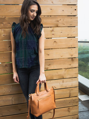 Dorothy Leather Satchel - Caramel