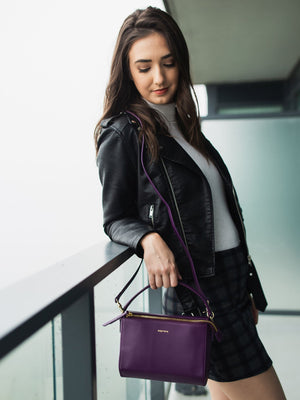 Krista Leather Crossbody - Purple