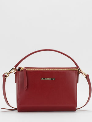 Krista Leather Crossbody - Fire Brick Red