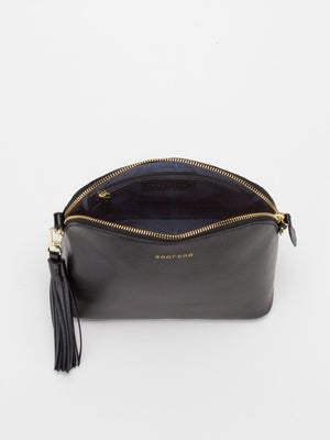 Kaylie Leather Shoulder Bag - Black