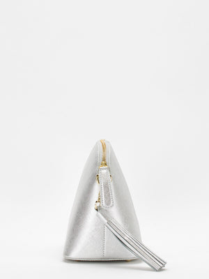 Kaylie Leather Shoulder Bag - Silver