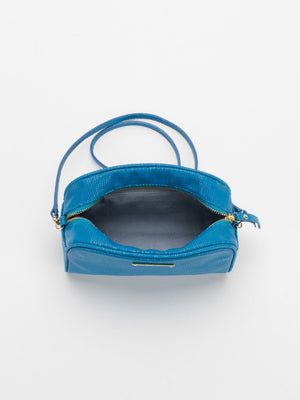 Ivy Embossed Leather Crossbody Bag - Blue