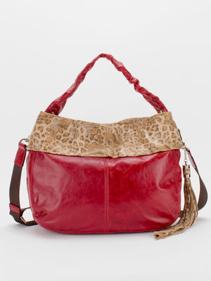 Toni Leopard Print Glazed Leather Bag - Ruby Red