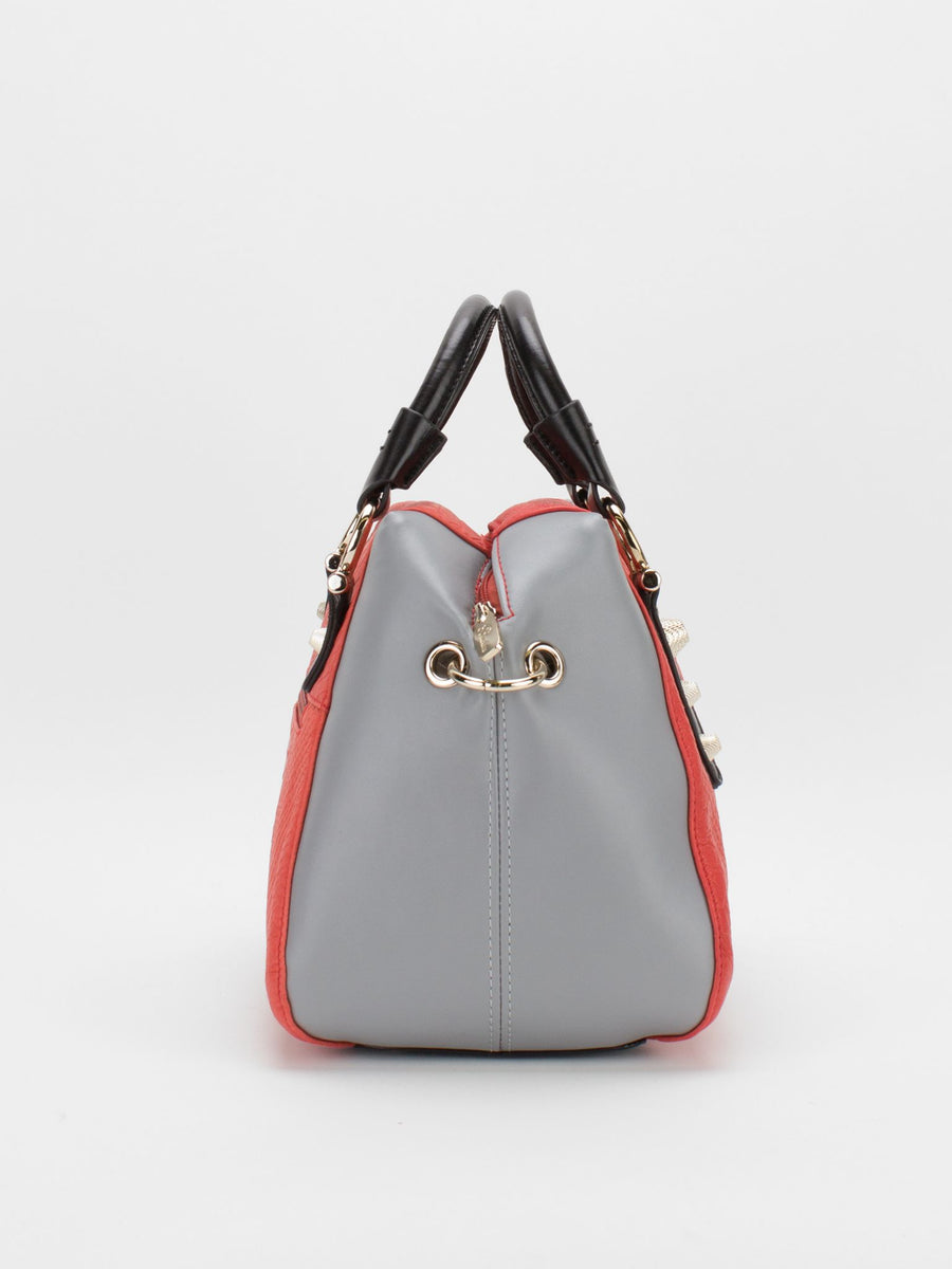 Zuri Colour Block Leather Satchel - Grey/Red