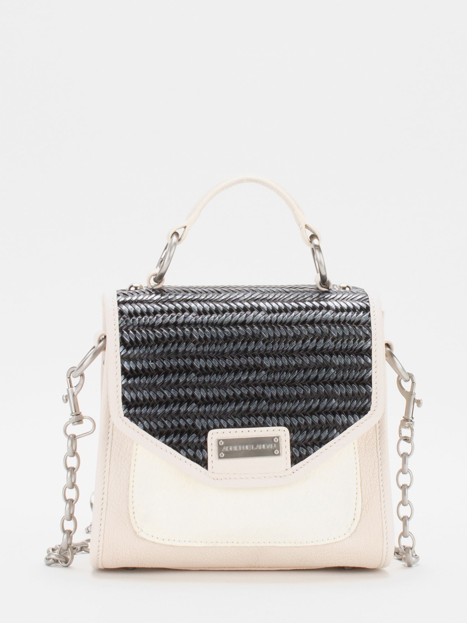 Amanda Top Handle Satchel - Ivory/Black