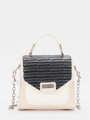 Amanda Small Leather Satchel - Ivory/Black
