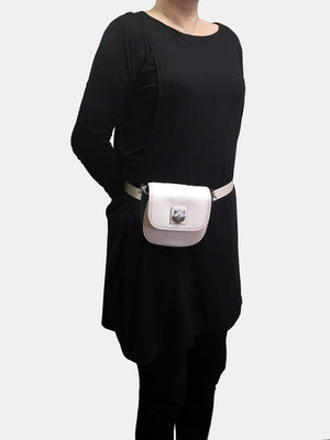 Cara Leather Hip Hugger Convertible Crossbody - Ivory/Black