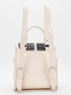 Ebony Leather Backpack - Ivory/Black