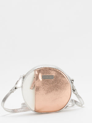 Sara Lambskin Mini Crossbody - Beige/Metallic