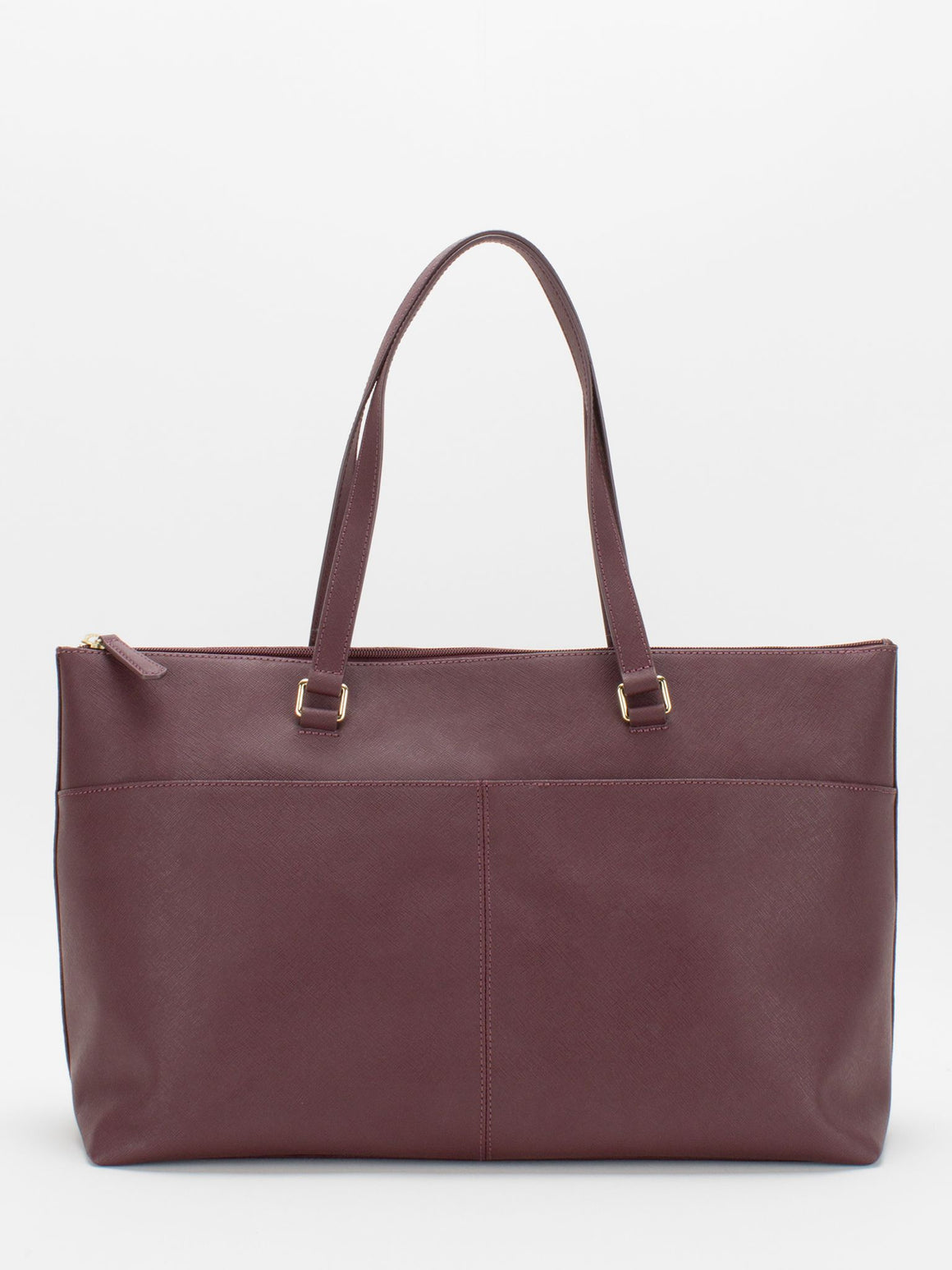 Vicky Saffiano Leather Tote - Burgundy