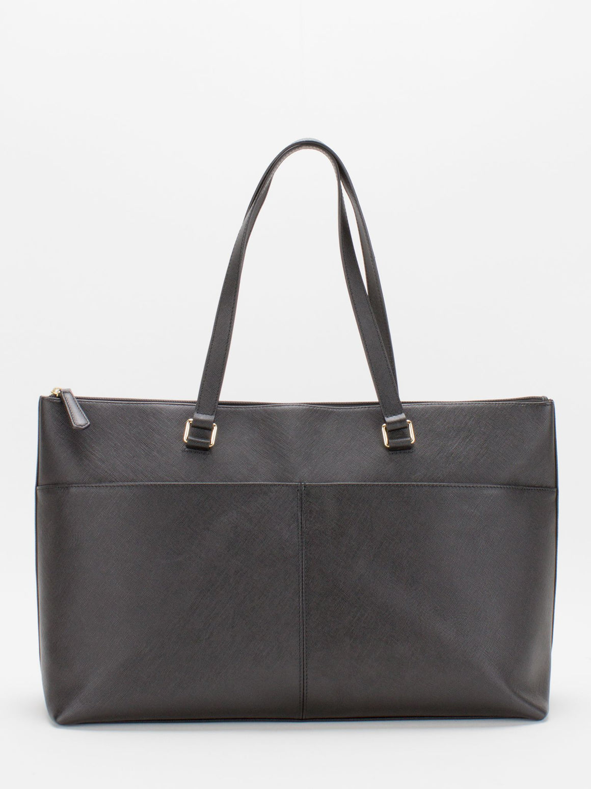 Vicky Saffiano Leather Tote - Black