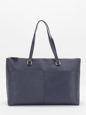 Vicky Saffiano Leather Tote - Navy